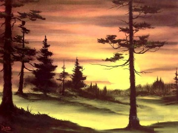 sun - evergreens at sunset Style of Bob Ross